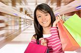 girl in a shopping center