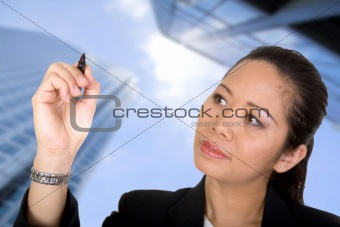 asian business woman writing on screen