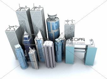 corporate buildings from a high angle