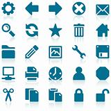 Simple blue web icon set