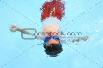 Boy Floating in Pool