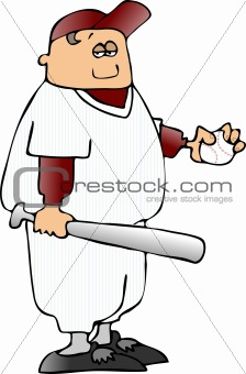 Boy With A Bat And Baseball