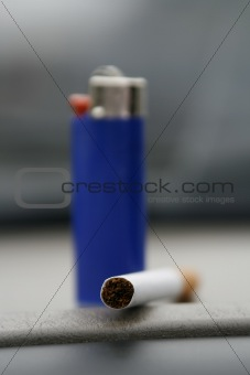 Blue Lighter and a Cigarette