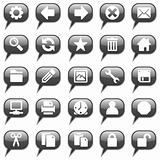 Glossy black chat bubble icon set, 25 images