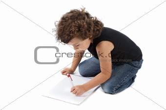 adorable boy writing