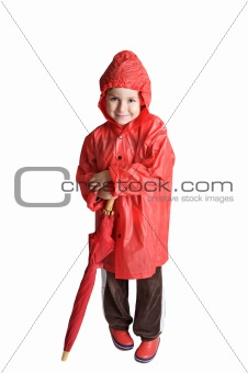 adorable boy with umbrella