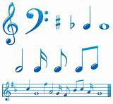 Glossy blue music notes