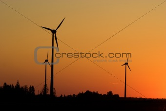 Windturbines in sunrise