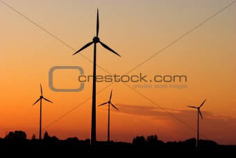Wind generators in sunrise