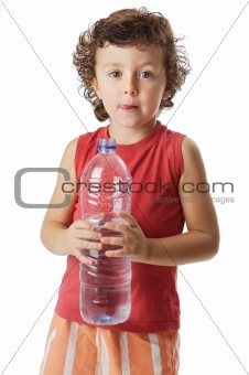 adorable boy drinking water