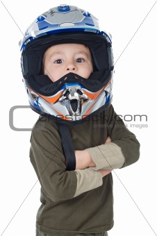 adorable boy with a helmet in the head