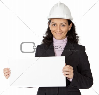attractive young person architect with a billboard in the hands
