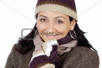 attractive lady sheltered for the winter