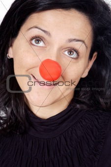 attractive lady with a red nose