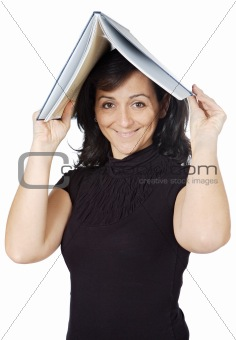 attractive lady with a book in the head