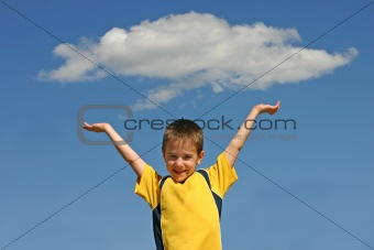 Boy Holding up a Cloud