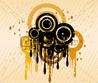 Grunge background with circles  - vector