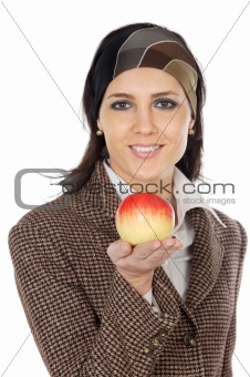 Attractive girl with apple  in the hand  (focus in the apple)