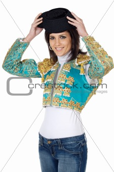 attractive woman dressed toreador