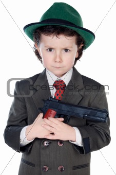 adorable boy dressed gangster