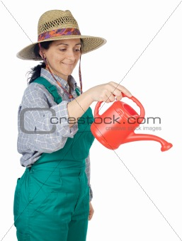 attractive happy woman dressed gardener