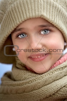 Girl sheltered for the cold