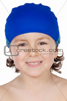 adorable boy  with swimmer