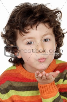 adorable child sending a kiss