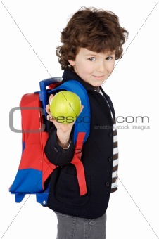 adorable boy student with knapsack and apple