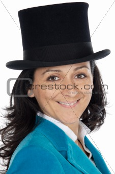 attractive business woman with hat