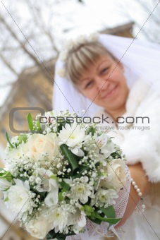 Bride show flowers