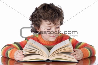 adorable happy boy studying