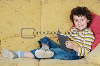 adorable boy reading