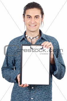 casual boy with notepad
