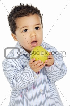adorable baby eating an apple