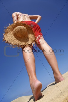 Beach Woman and Hat