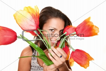 Pretty Hispanic Woman with Plastic Flowers