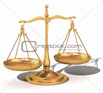 3d gold balance, the scales of justice