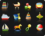 Toys_black background icon set