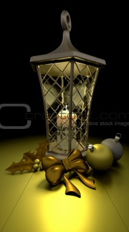 traditional christmas lantern with candle and decorations
