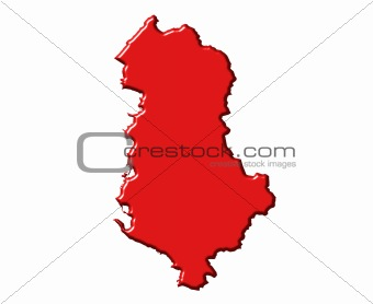 Albania 3d map with national color