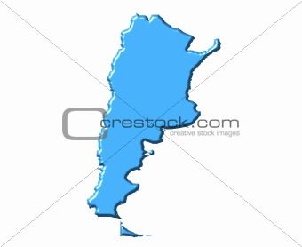 Argentina 3d map with national color