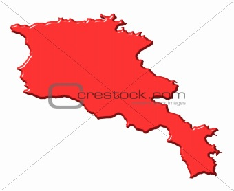 Armenia 3d map with national color