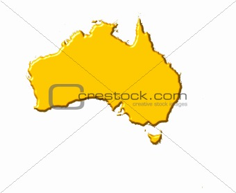 Australia 3d map with national color