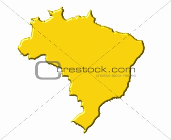 Brazil 3d map with national color