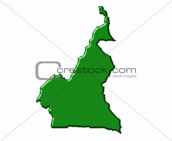 Cameroon 3d map with national color