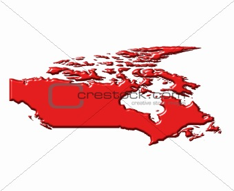 Canada 3d map with national color