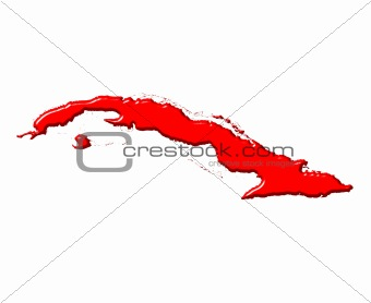 Cuba 3d map with national color