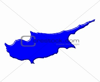 Cyprus 3d map with national color