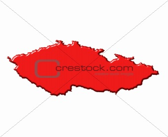 Czech Republic 3d map with national color